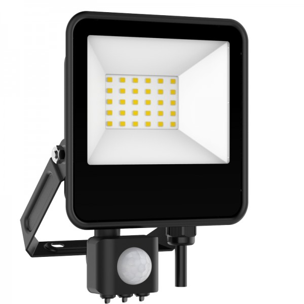 EL198836   LED FloodLight black SENSOR IP65 L186xW135xH29.8mm 30W 6500k 2700lm enjoySimplicity™