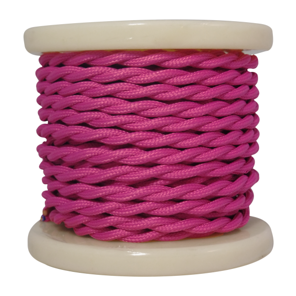 EL338004   Textile Cable Τwist 2x0.75mm²- ρολλό 10mt – Pink