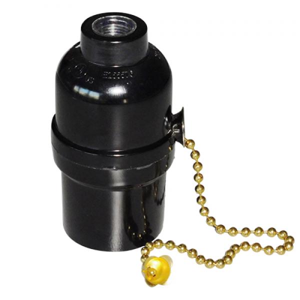 EL427907   Vintage lampholder E27 plsstic chain switch black