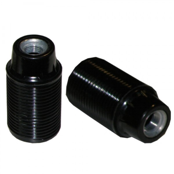 EL290802 | LAMPHOLDER E27 VAKELITE ΜΕΤΑLLIC ΤΗREADED SCREW M10x1 BLACK