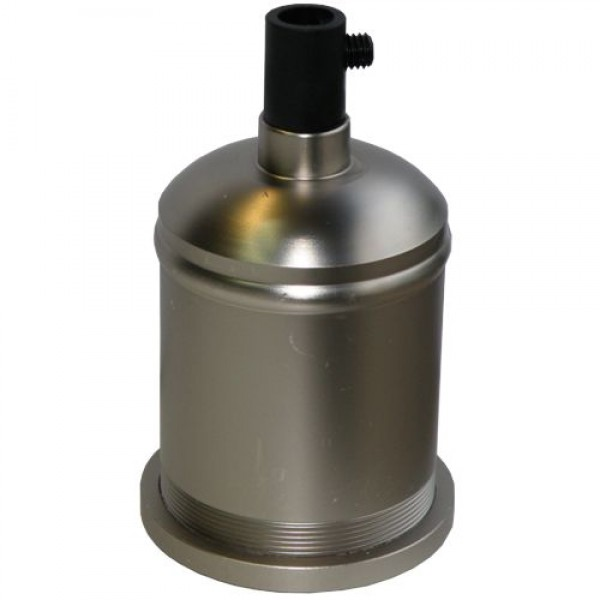EL327641 |Vintage Aluminium lampholder E27 plastic inside NICKEL MAT