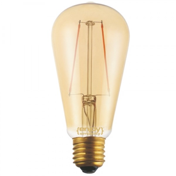 EL822109 | LED FILLAMENT DIM Amber Glass ST64-2|2.5W Ε27|2200k|200lm|enjoySimplicity™